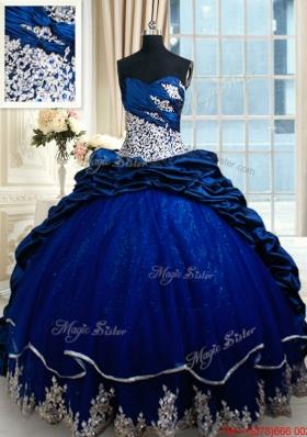 Hot Sale Court Train Royal Blue Quinceanera Dress with Lace Appliques and Bubbles