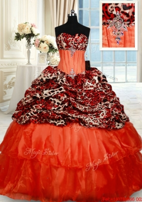 Latest Beaded Brush Train Orange Red Quinceanera Dress in Organza and Leopard