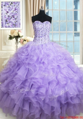Lovely Visible Boning Ruffled and Beaded Bodice Organza Quinceanera Dress in Lavender