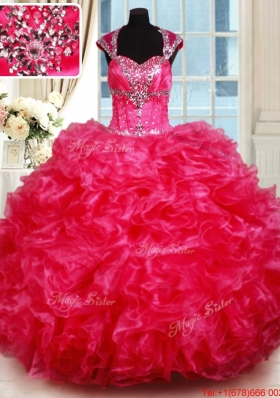Luxurious Open Back Ruffled and Beaded Hot Pink Quinceanera Dress with Cap Sleeves