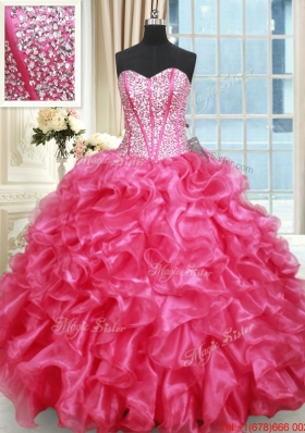 Luxurious Visible Boning Sweetheart Ruffled and Beaded Quinceanera Gown in Hot Pink
