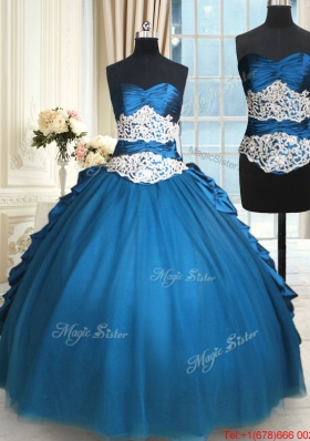 Modern Beaded and Bubble Teal Removable Quinceanera Dress in Tulle and Taffeta