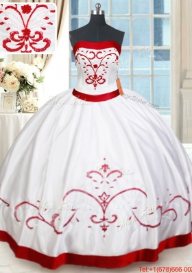 Pretty Strapless Satin White and Red Quinceanera Dress with Beading and Embroidery