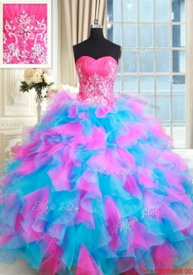 Wonderful Zipper Up Tulle and Organza Quinceanera Dress in Pink and Blue