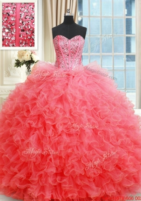 Beautiful Visible Boning Ruffled and Beaded Bodice Coral Red Quinceanera Gown