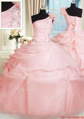 Cheap One Shoulder Pink Quinceanera Dress with Handcrafted Flower and Beading