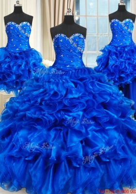 Discount Three for One Ruffled and Beaded Royal Blue Quinceanera Dress in Organza