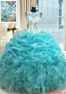 Elegant See Through Scoop Zipper Up Applique Ruffled Quinceanera Dress in Aquamarine