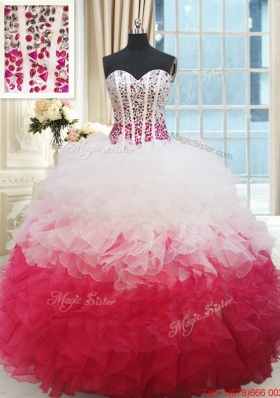 Hot Sale Visible Boning Beaded Bodice and Ruffled Sweet 16 Dress in White and Red