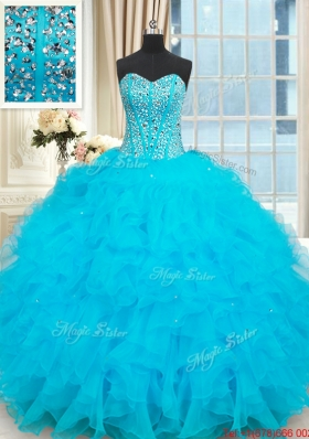 Hot Sale Visible Boning Beaded Bodice Baby Blue Quinceanera Dress with Ruffles