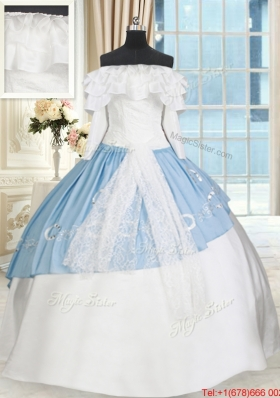 Perfect Off the Shoulder White and Light Blue Quinceanera Dress with Long Sleeves