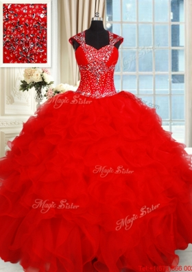 Perfect Open Back Ruffled and Beaded Red Quinceanera Dress with Cap Sleeves