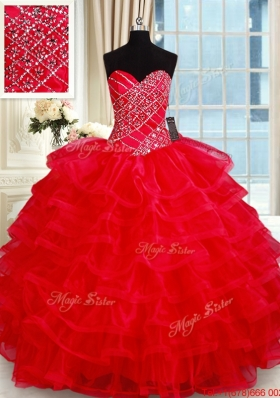 Popular Big Puffy Red Quinceanera Dress with Ruffled Layers and Beading