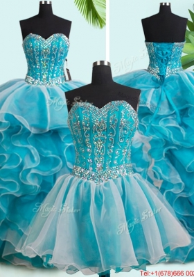 Best Selling Ruffled and Beaded Teal and White Detachable Quinceanera Dresses with Brush Train