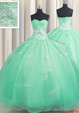 Hot Sale Zipper Up Turquoise Quinceanera Dress with Appliques and Beading