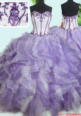 Luxurious Visible Boning Beaded and Ruffled Quinceanera Dress in White and Purple