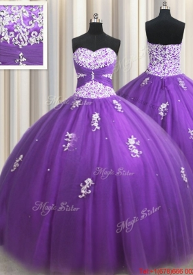 New Arrivals Applique and Beaded Eggplant Purple Quinceanera Dress with Zipper Up
