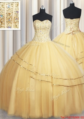 New Style Visible Boning Sequined and Beaded Bodice Tulle Quinceanera Dress in Gold