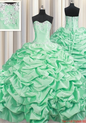 Popular Beaded and Bubble Taffeta Apple Green Quinceanera Dress with Brush Train