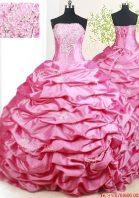 Pretty Strapless Brush Train Pick Ups Hot Pink Quinceanera Dress in Taffeta