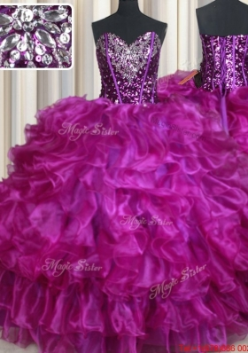Visible Boning Beaded and Sequined Organza Purple Quinceanera Dress with Ruffles
