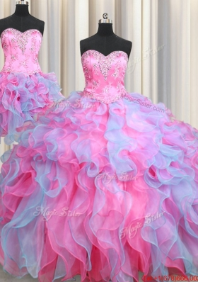 Cheap Beaded and Ruffled Organza Removable Quinceanera Dresses in Rose Pink and Light Blue