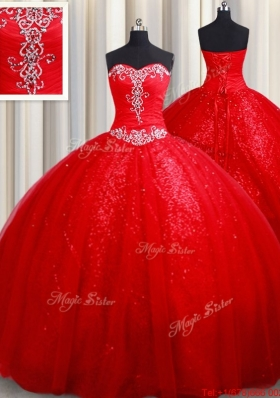 Latest Puffy Skirt Court Train Tulle and Sequins Quinceanera Dress in Red