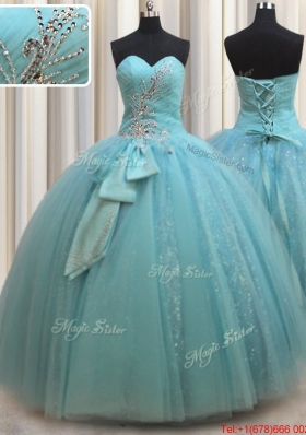 Most Popular Beaded and Bowknot Aquamarine Quinceanera Dress in Tulle and Sequins