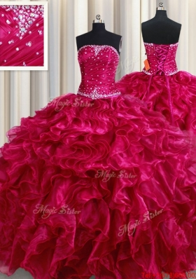 Perfect Strapless Organza Ruffled and Beaded Quinceanera Dress in Fuchsia