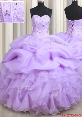Wonderful Visible Boning Ruffled and Bubble Organza Quinceanera Dress in Lavender