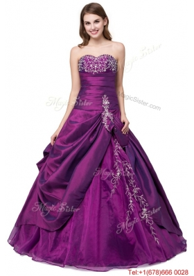 Puffy Sweetheart Organza Purple Quinceanera Dress with Embroidery