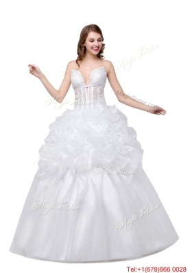 Ball Gown Sweetheart Oganza White Long Wedding Dress with Appliques and Bubbles