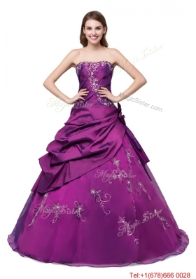 Puffy Embroideried and Bubbles Eggplant Purple Quinceanera Dress with Strapless
