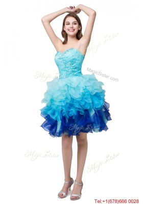 Puffy Sweetheart Multi Color Short Prom Dresses with Beading and Ruffles
