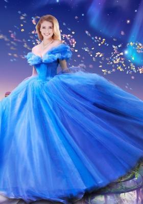 Elegant Hand Made Flowers Cinderella Quinceanera Dresses in Blue