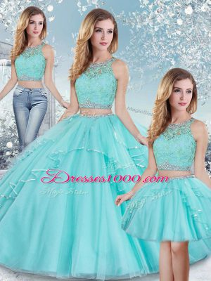 Glamorous Scoop Sleeveless Tulle Quinceanera Gown Beading and Lace and Sequins Clasp Handle