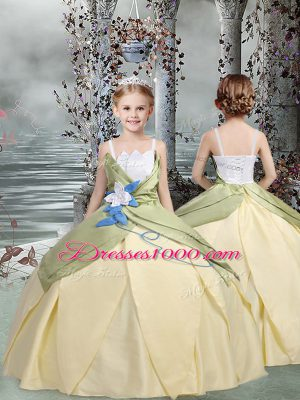 Taffeta Spaghetti Straps Sleeveless Lace Up Ruching and Hand Made Flower Kids Formal Wear in Champagne