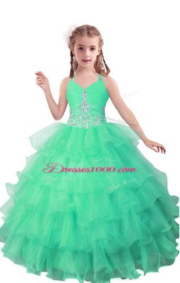Turquoise Sleeveless Floor Length Beading and Ruffled Layers Zipper Little Girls Pageant Dress