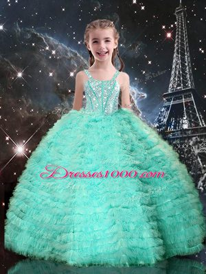 Stunning Tulle Straps Sleeveless Lace Up Beading and Ruffled Layers Little Girl Pageant Gowns in Turquoise