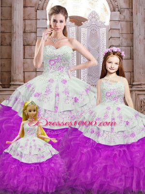 Perfect Floor Length White And Purple Ball Gown Prom Dress Sweetheart Sleeveless Lace Up
