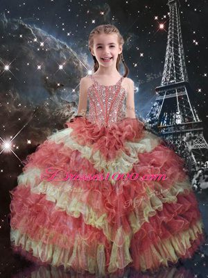 Watermelon Red Pageant Gowns For Girls Quinceanera and Wedding Party with Beading and Ruffled Layers Straps Short Sleeves Lace Up