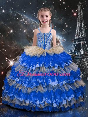 Custom Design Floor Length Ball Gowns Sleeveless Multi-color Little Girls Pageant Dress Wholesale Lace Up