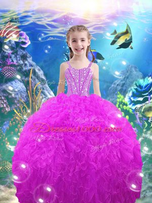 Graceful Organza Straps Sleeveless Lace Up Beading and Ruffles Little Girl Pageant Gowns in Fuchsia