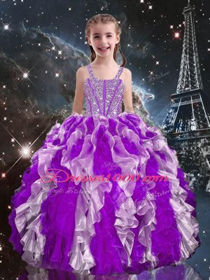 Custom Design Eggplant Purple Straps Lace Up Beading and Ruffles Little Girls Pageant Dress Wholesale Sleeveless