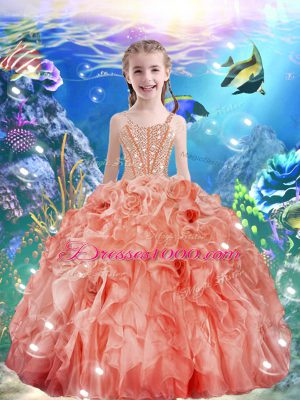 Superior Watermelon Red Ball Gowns Organza Straps Sleeveless Beading and Ruffles Floor Length Lace Up Little Girls Pageant Dress Wholesale