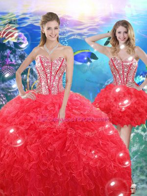 Coral Red Sleeveless Organza Lace Up Sweet 16 Quinceanera Dress for Military Ball and Sweet 16 and Quinceanera