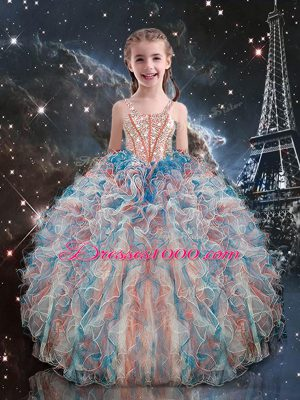 Floor Length Lace Up Kids Formal Wear Multi-color for Quinceanera and Wedding Party with Beading and Ruffles