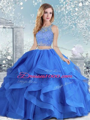 Vintage Royal Blue Long Sleeves Floor Length Beading and Ruffles Clasp Handle 15th Birthday Dress