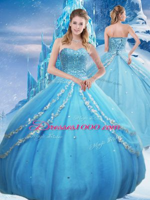 Baby Blue 15th Birthday Dress Military Ball and Sweet 16 and Quinceanera with Beading and Appliques and Sequins Sweetheart Sleeveless Lace Up