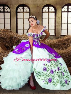 Charming Taffeta Sleeveless Floor Length Sweet 16 Quinceanera Dress and Embroidery and Ruffled Layers